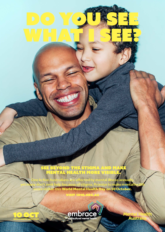 World Mental Health Day 2019 poster featuring a father and son hugging
