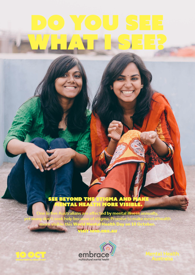 World Mental Health Day 2019 poster featuring two young women smiling together